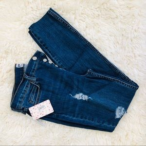 NWT: FREE PEOPLE | High-Rise Cropped Jeans